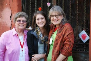 Sr. Chris Schenk, Kate Conmy, and Therese Korturbosh at the Shrine of Pope Joan (photo credit: Deb Rose-Milavec