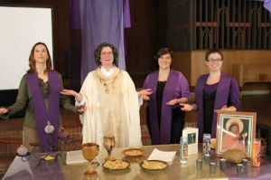 Presiding at communion. L-R: Bonnie Rambob, Joellynn Monahan, Natalie Terry, Christine Haider-Winnett